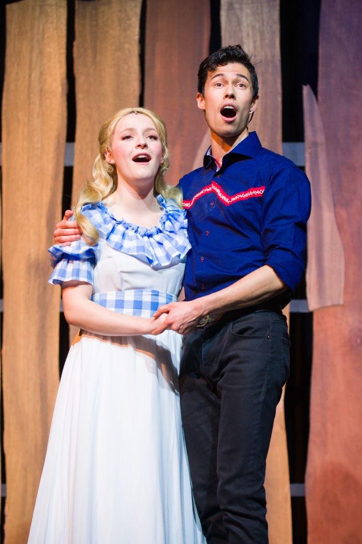 Chloe Makiol (Laurey) and Joshua Thia (Curly). Photo by Michelle Thomas at Christopher Thomas Photography