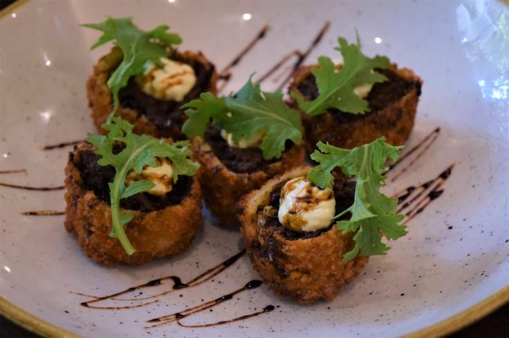 Wagyu Beef Shin Croquetas w Bone Marrow, Treacle and Horseradish