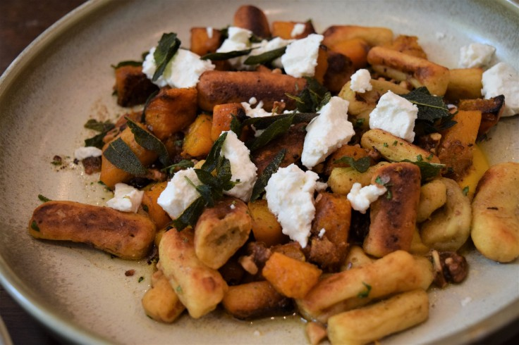 Paris Style Gnocchi with Roast Butternut, Walnuts, Goats Cheese, Crispy Sage and Brown Butter