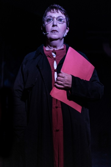 Sandra Harman as Female Auhority. Imagery provided by Moreton Bay Theatre Company.